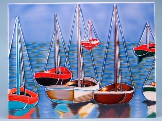 12150 Ceramic plaque - anchored yachts