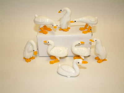 SY298 Mini glass geese - set of 8