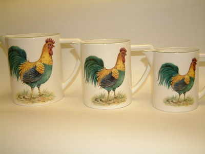 Set of 3 milk jugs - cockeral