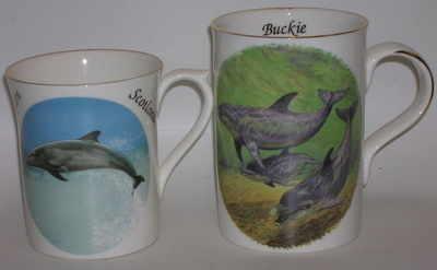 FC001/A Lyric beaker - A / blue dolphin  B/ green dolphins
