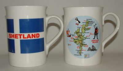 FC001/A  Lyric beaker - A/ Shetland Flag  B/ Shetland map