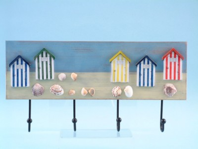 15282 Beach hut decor wall hooks x 4
