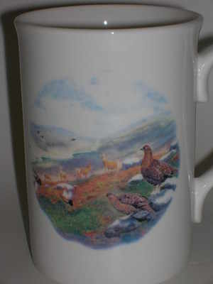FC001/A Lyric beaker - Grouse & Red deer scene
