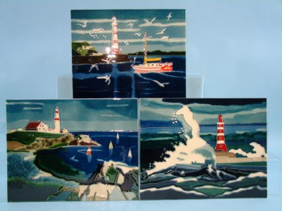 12156 Ceramic plaque - Lighthouse scenes