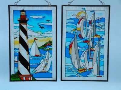 17415 Nautical scenes Glass decorations