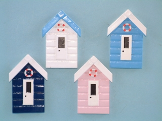 21428 Beach hut magnets - 8 cm