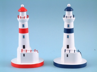 15129 White lighthouse with stairs - 20cmH