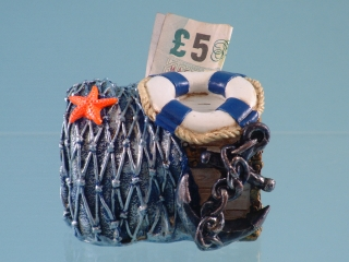 15127 Nautical chest money box - 9.5cmL