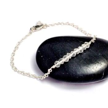 Crystal Quartz Gemstone Sterling Silver Bracelet
