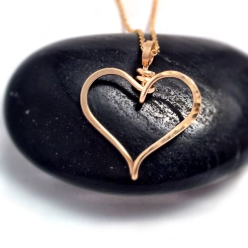 Gold Filled Hammered Heart Necklace