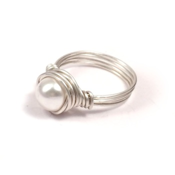 Sterling Silver Pearl Wire Wrapped Ring