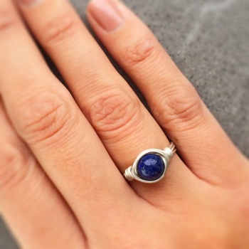 Sterling Silver Lapis Lazuli Wire Wrapped Ring