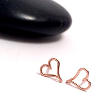 Heart Stud Earrings | Rose Gold Filled