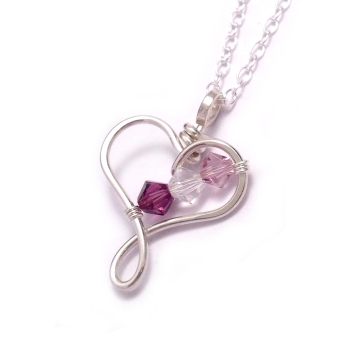 Heart Family Birthstone Necklace: 2-3 Crystals