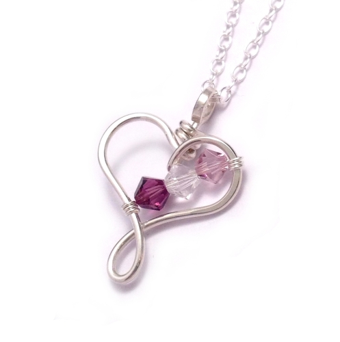 sterling slp birthstone zirconia amazon three necklace heart com cubic silver inch
