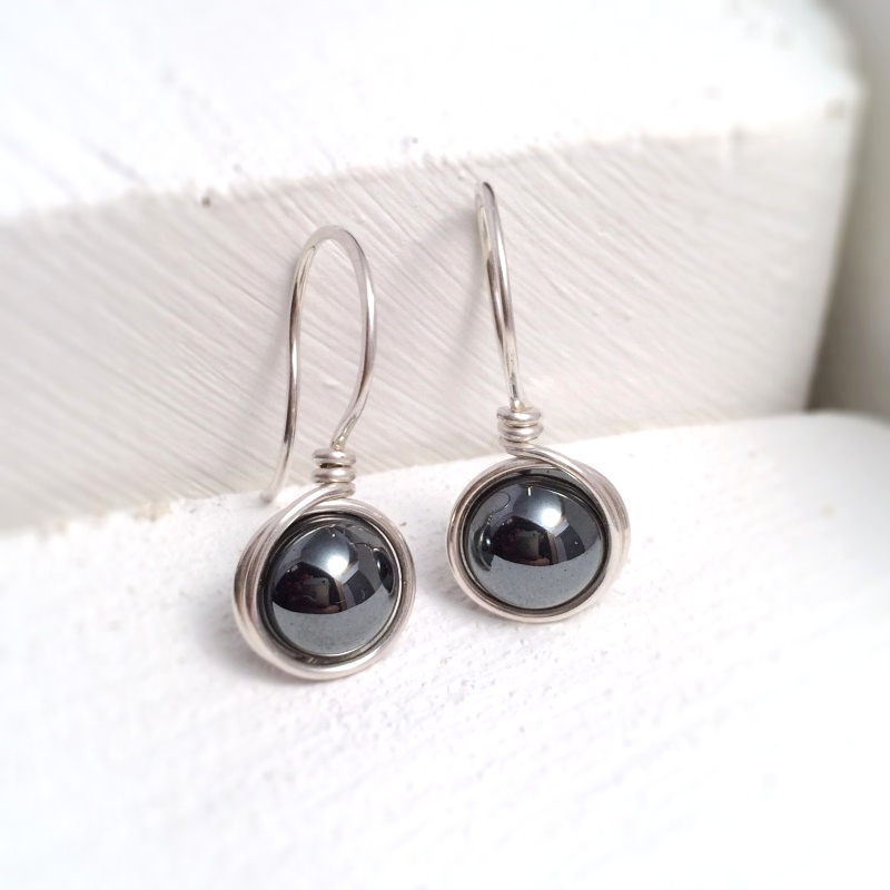 Hematite Earrings Sterling Silver | Dark Grey Earrings UK