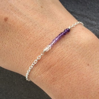 Ombre Amethyst Gemstone Sterling Silver Bracelet