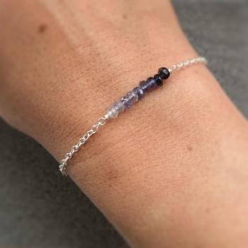 Ombre Iolite Gemstone Sterling Silver Bracelet