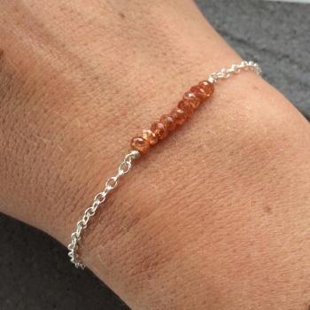 Sunstone Gemstone Sterling Silver Bracelet