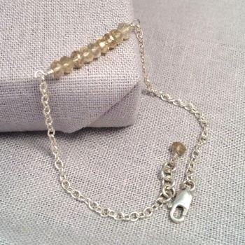 Lemon Quartz Gemstone Sterling Silver Bracelet