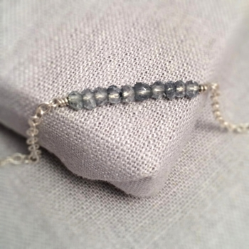 Smokey Blue Quartz Gemstone Sterling Silver Bracelet