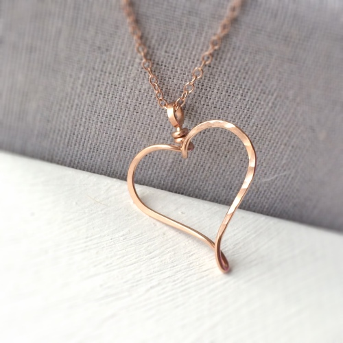 Rose Gold Filled Hammered Heart Necklace