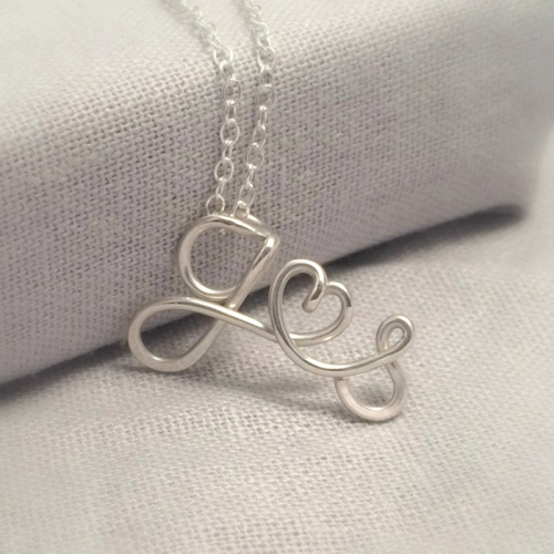 Couples Initials Necklace | Sterling Silver