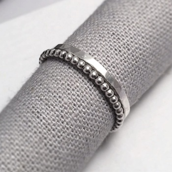 Silver Hammered & Beaded Stack Rings