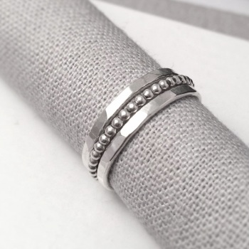 Silver Hammered & Beaded Stack Ring Set