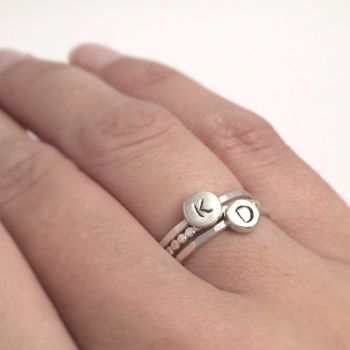 Silver Initials Ring Set