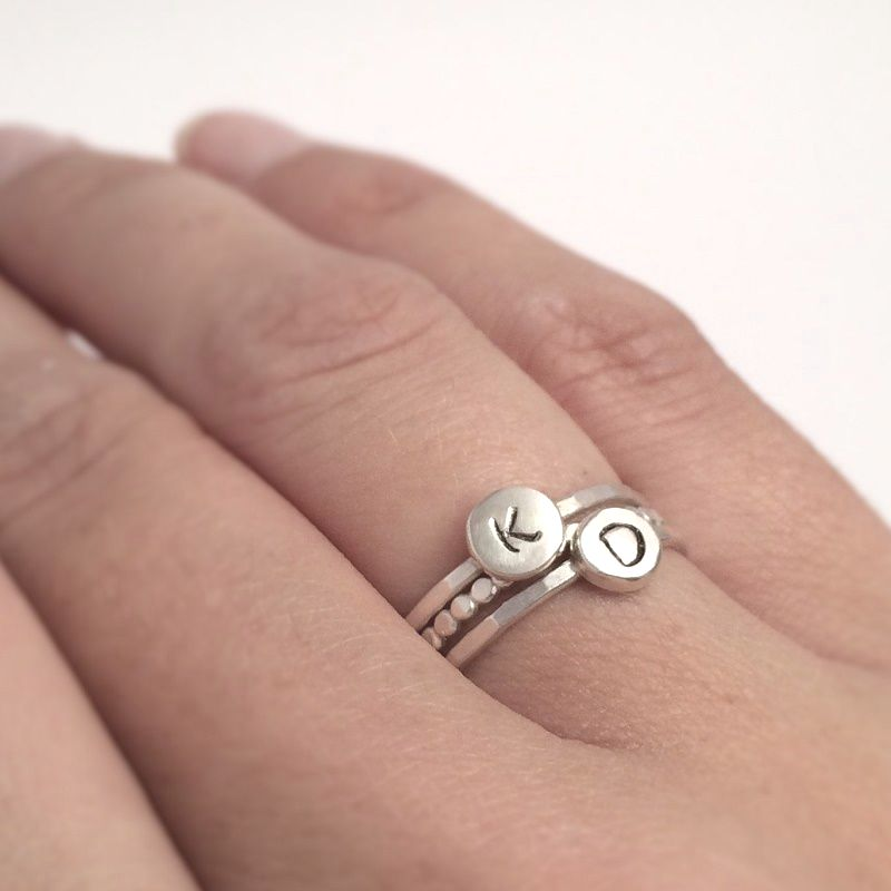Silver Initial Ring Set