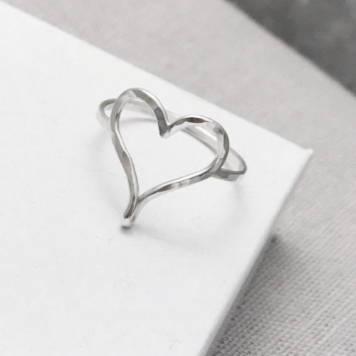 Silver Open Heart Ring