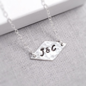 Silver Double Initials Hammered Necklace