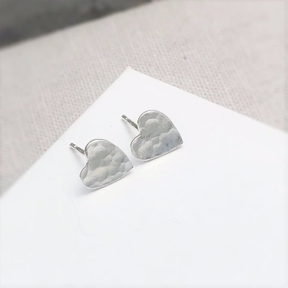 Silver Hammered Heart Studs