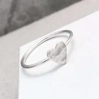 Silver Hammered Heart Ring