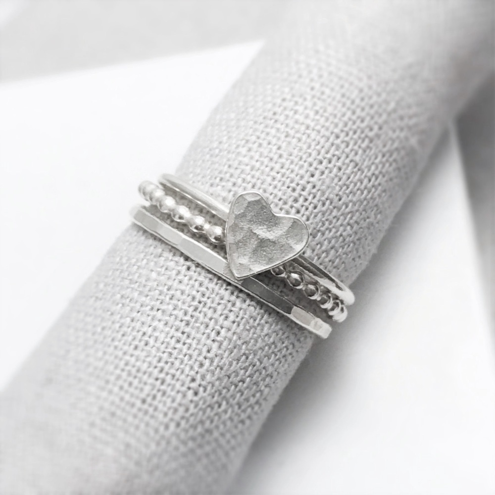 Silver Stacking Rings Heart Set