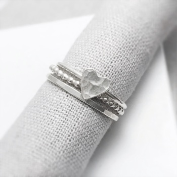 Silver Hammered Heart Ring Stacking Set