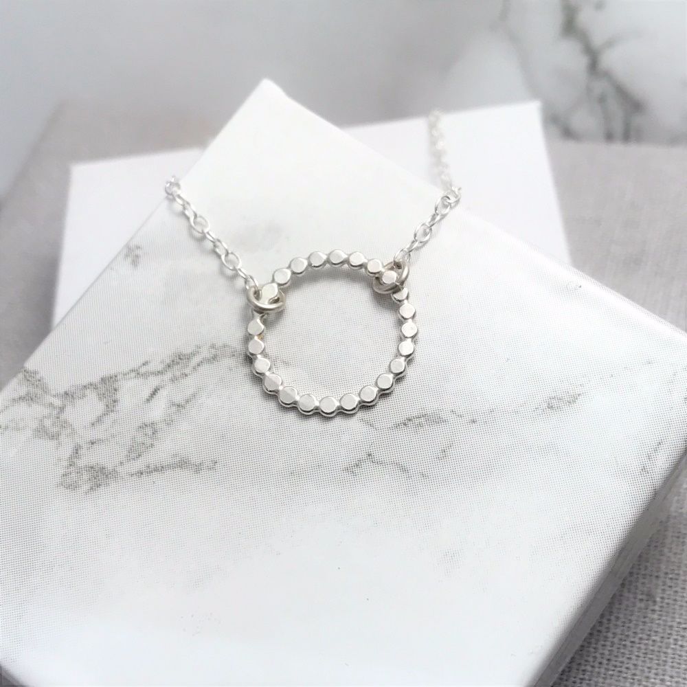 Silver Beaded Circle Necklace