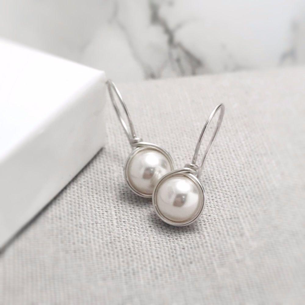 Drop Pearl Earrings | Sterling Silver