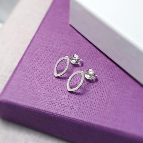 Mini Marquis Silver Stud Earrings
