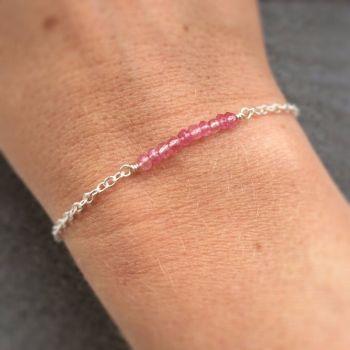 Pink Topaz Gemstone Sterling Silver Bracelet