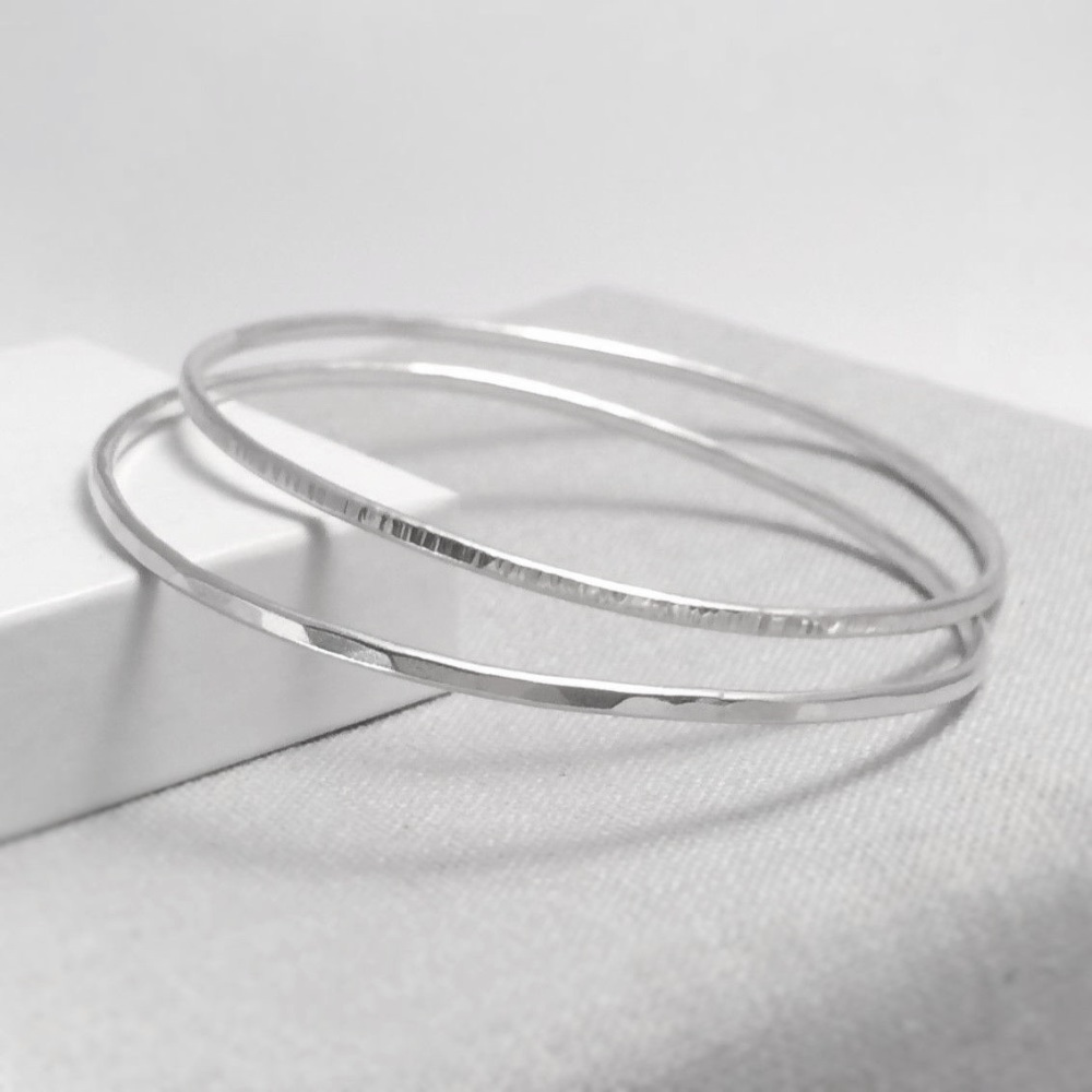 Sterling Silver Stacking Bangles - Hammered & Linear