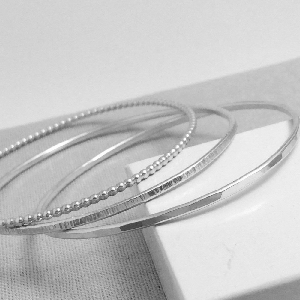 Sterling Silver Stacking Bangles - Beaded, Hammered & Linear Hammered