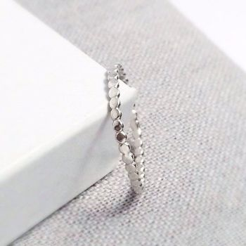 Hammered Beaded Silver Stack Ring