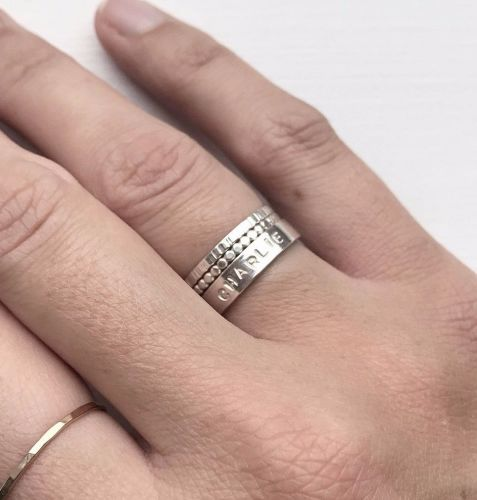 Silver Personalised Message Ring Stacking Set | Hand Stamped