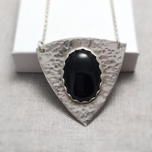 Sterling Silver Black Onyx Shield Necklace