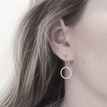 Beaded Silver Circle Earrings