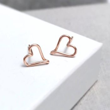 Heart Stud Earrings   Rose Gold Filled