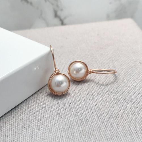 Drop Pearl Earrings   Rose Gold Filled