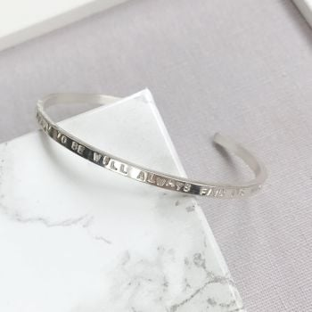 Personalised Sterling Silver Slim Open Bangle